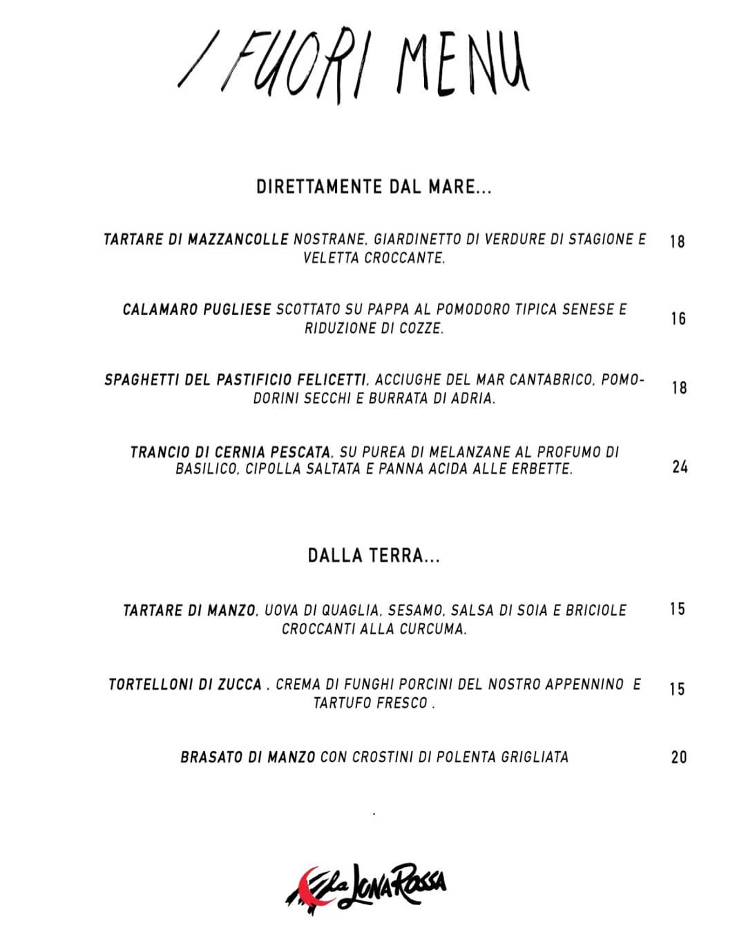 I nostri fuori menu di questa settimana solo alla LUNA ROSSA DI PALATA PEPOLI 05…